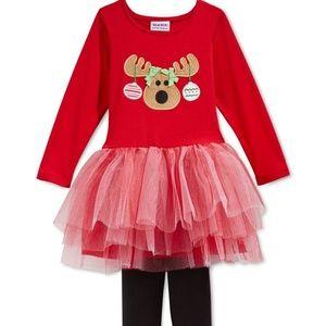 Blueberi Boulevard Matching Sets - Christmas Reindeer Tutu Dress Legging Set Outfit
